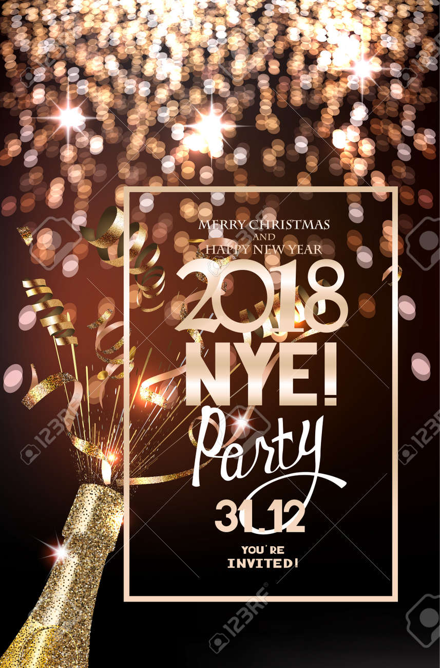 new year eve party invitation card with defocuced lights on the background bottle of champagne