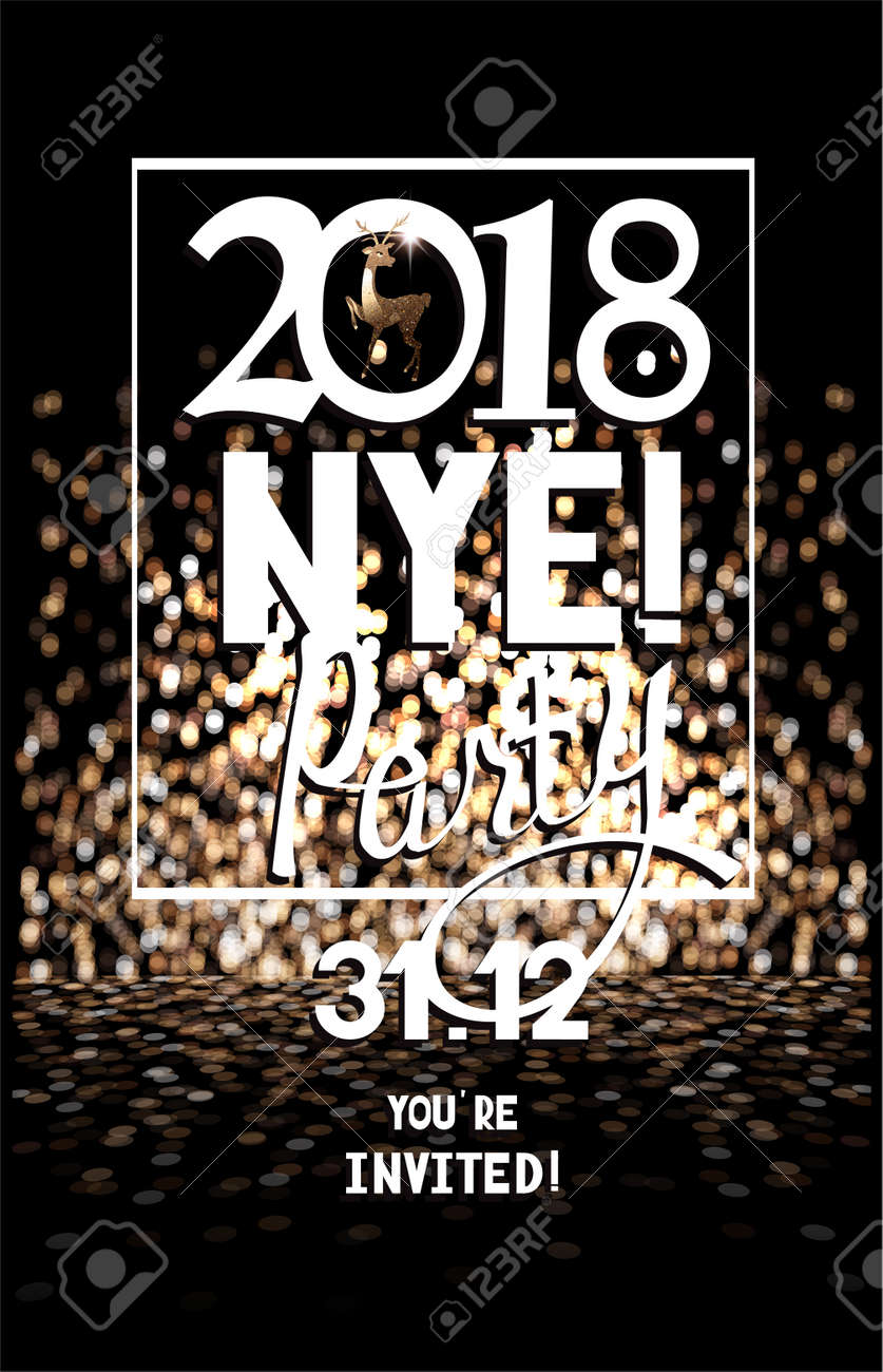 new year party invitation card with defocused lights on the background vector illustration stock vector