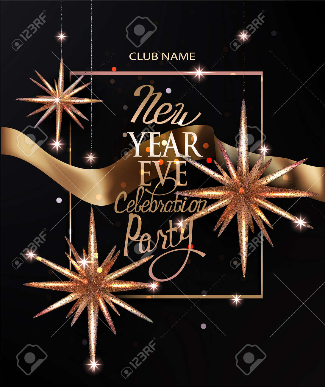 new year invitation card with christmas deco stars and gold ribbon vector illustration stock vector