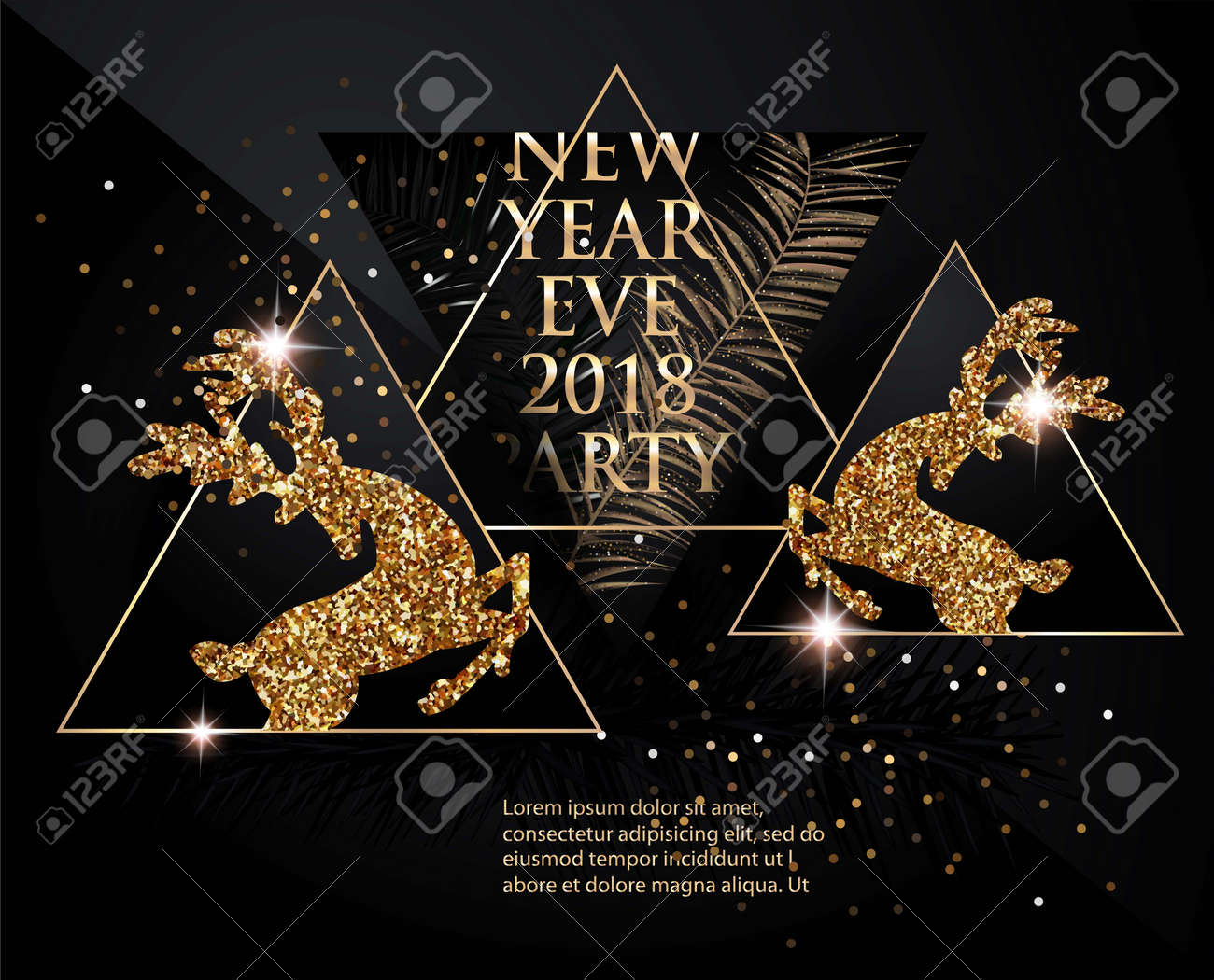 new year party banner with christmas tree brunches deer bottles of champagne and triangles