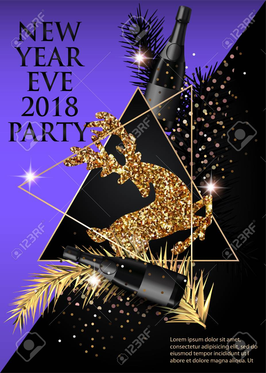 New Year Party Invitation Card With Christmas Tree Brunches