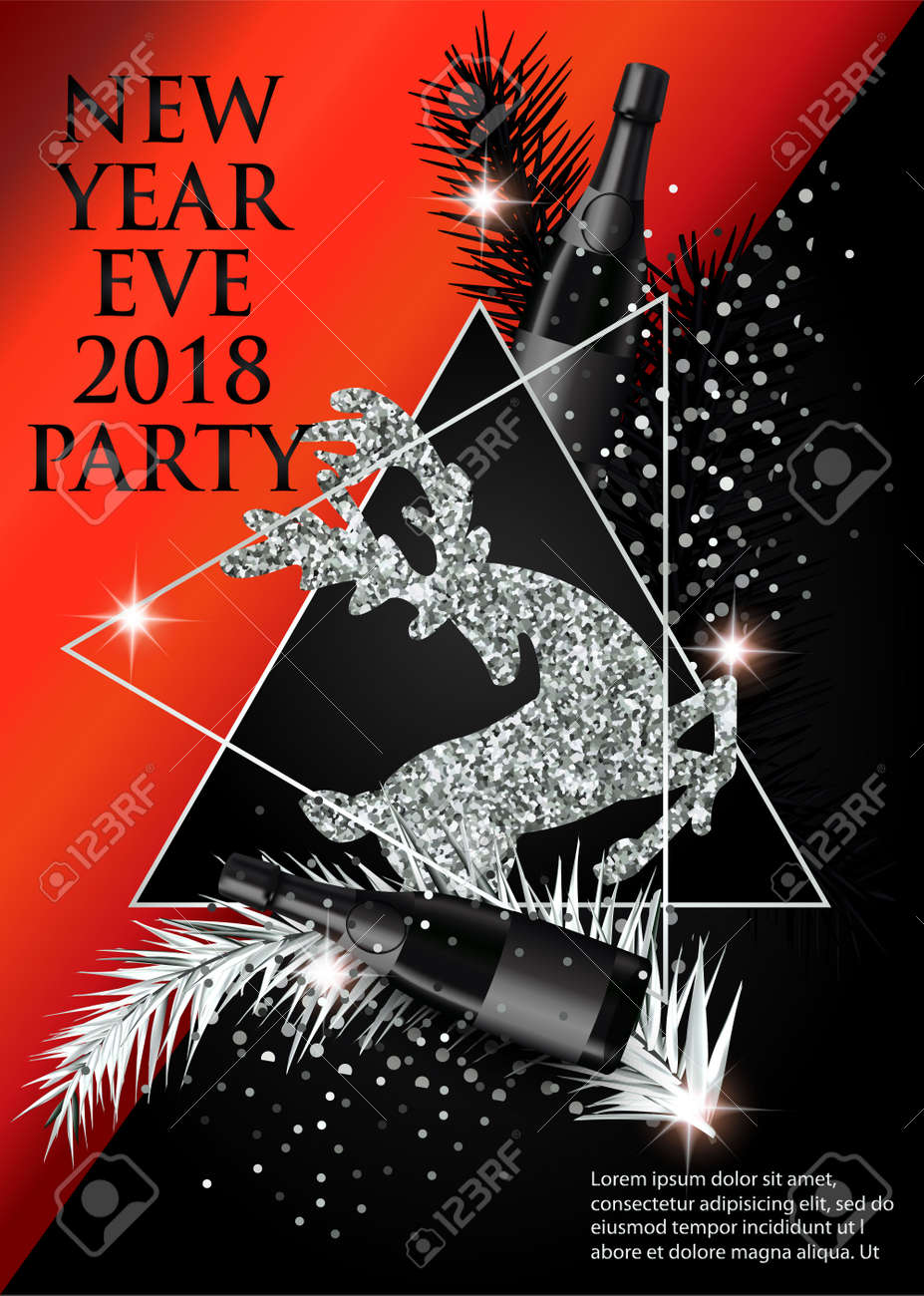 new year party invitation card with christmas tree brunches deer bottles of champagne and