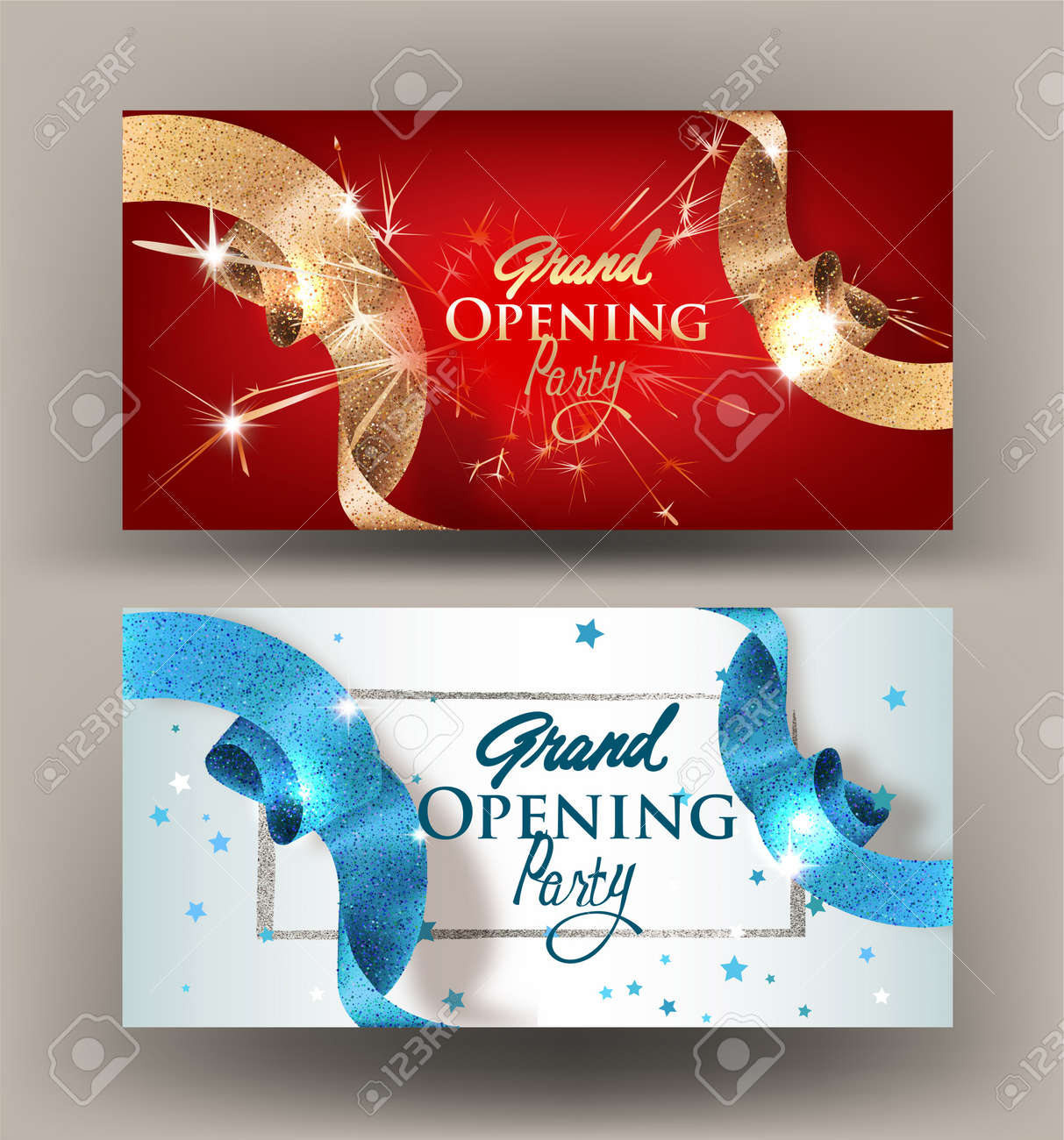 Grand opening banners with sparkling beautiful ribbons. Vector illustration - 88554097