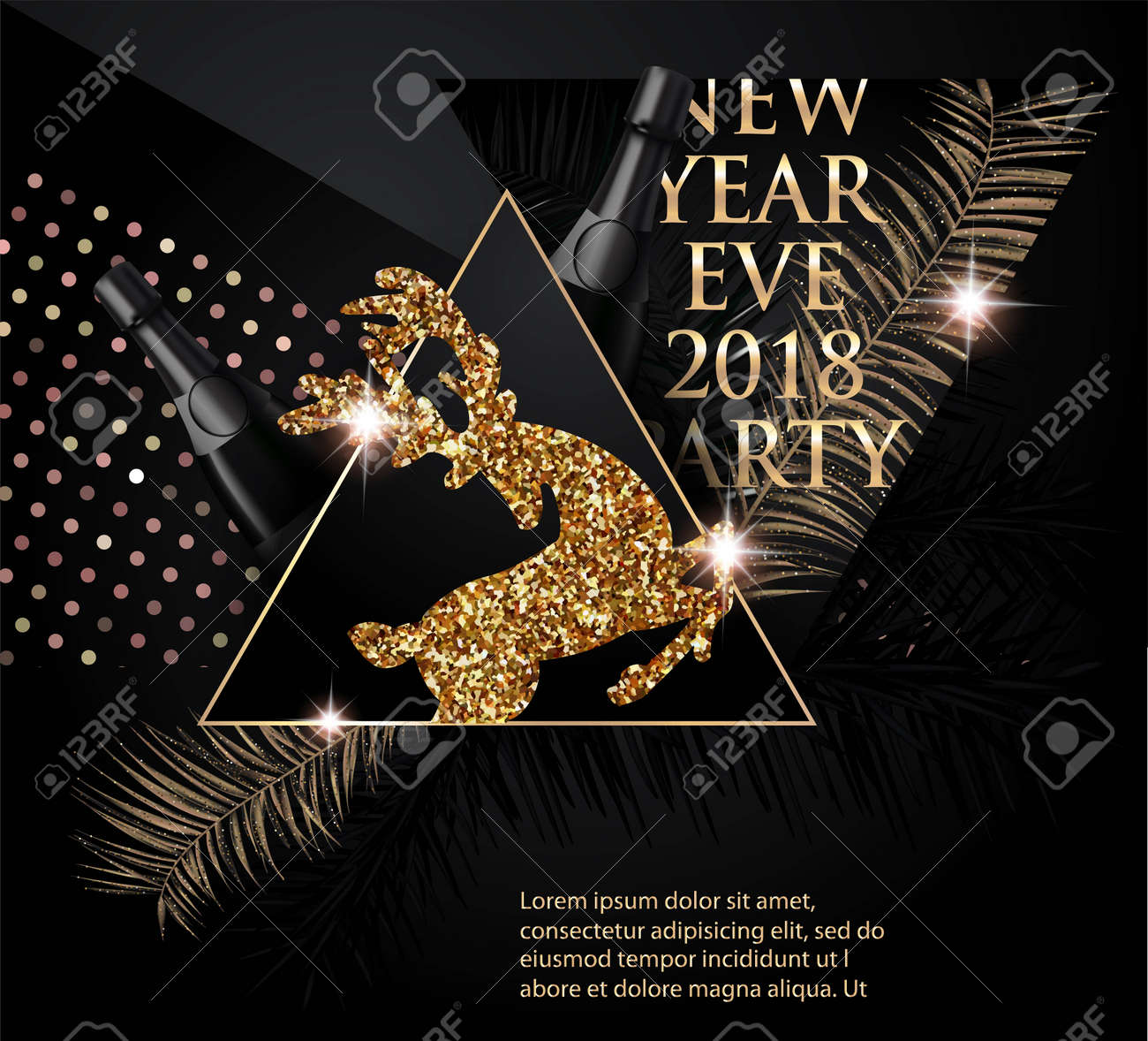 beautiful new year party banner with christmas tree brunches deer bottles of champagne and