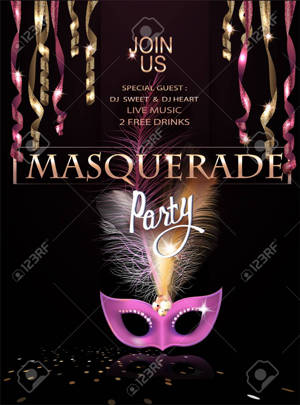 Masquerade Party Invitation Card With Hanging Serpentine And