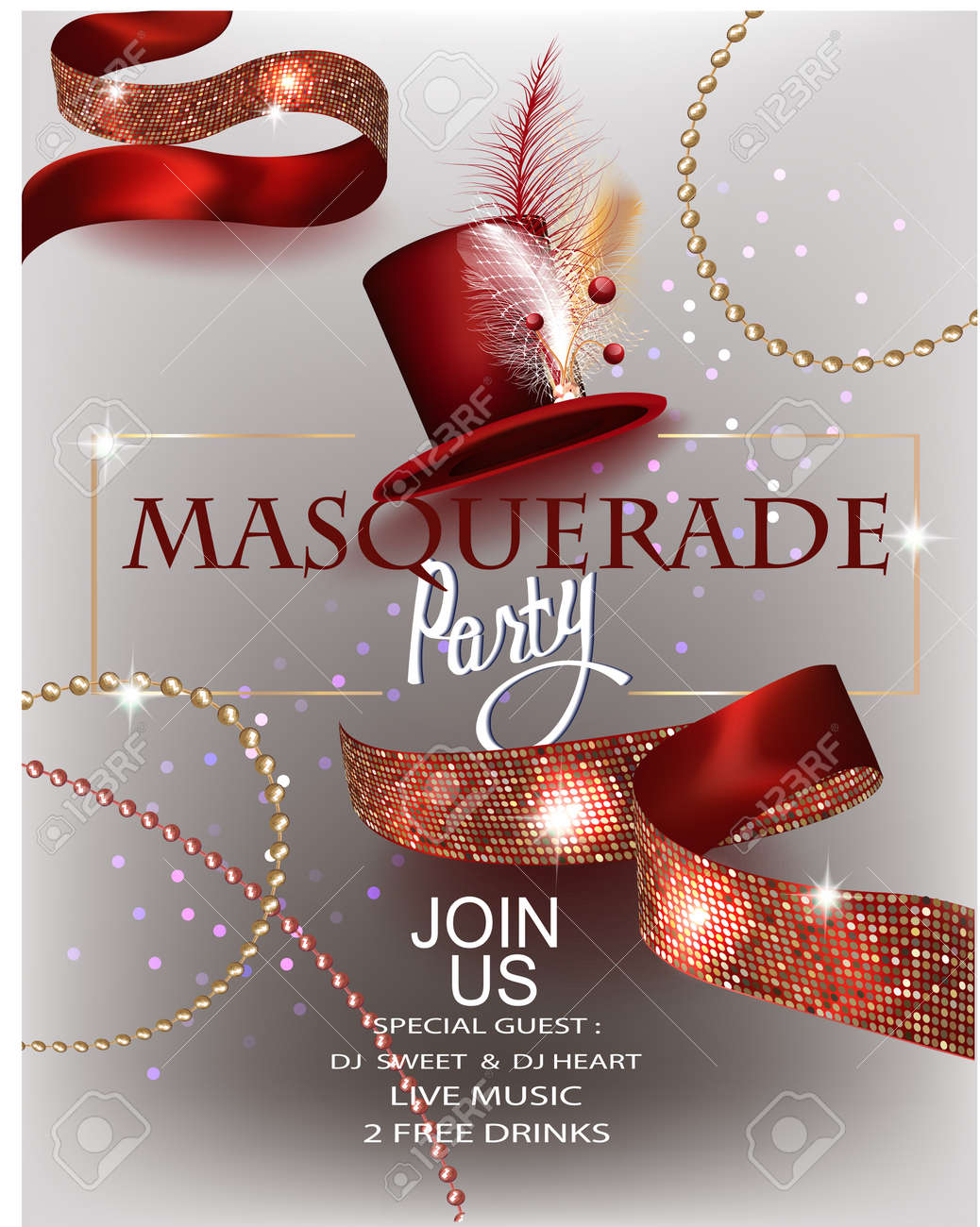 Masquerade Party Invitation Card With Hat With Decorations Beads