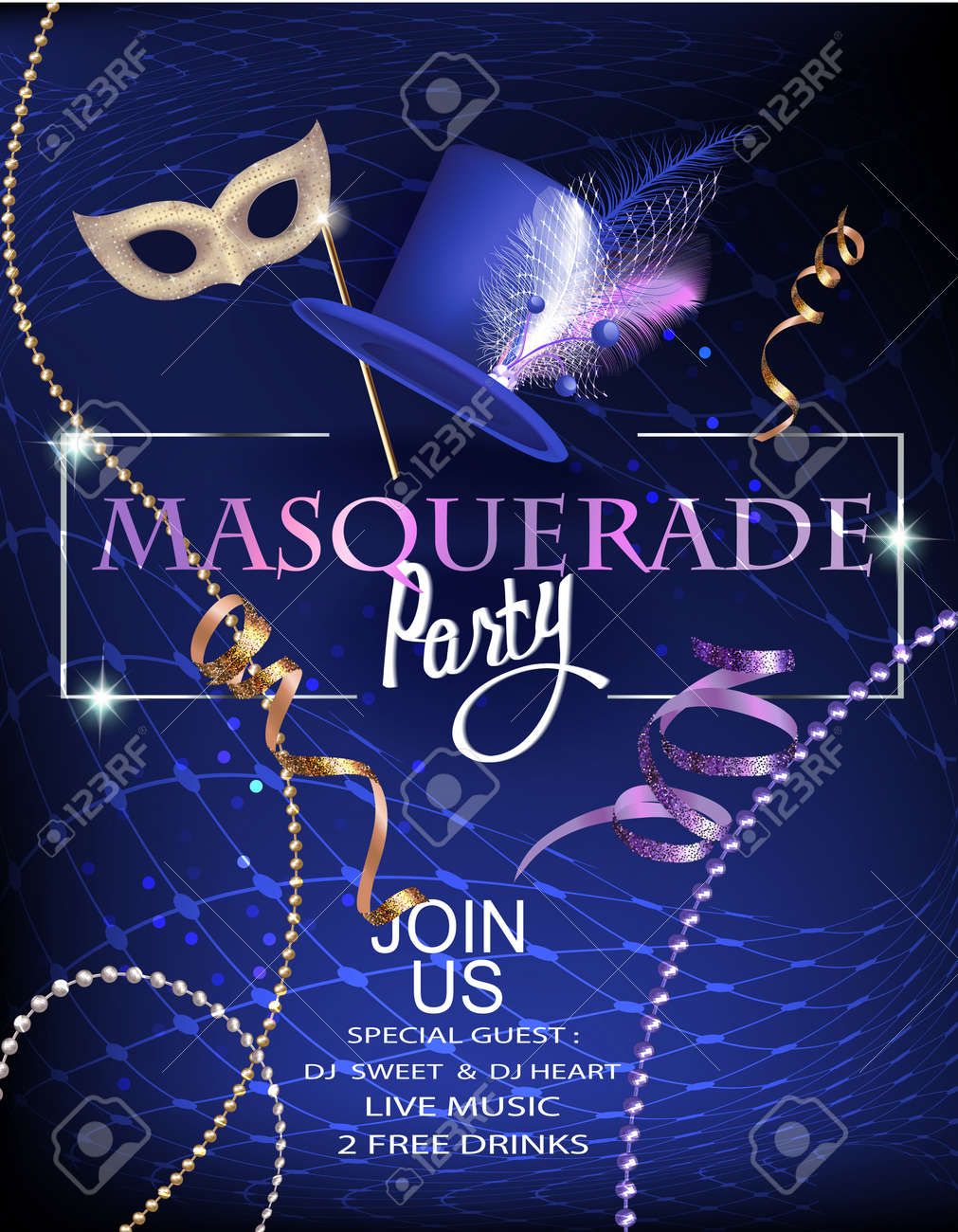 Masquerade Party Invitation With Beads Decorated Hat And Mask