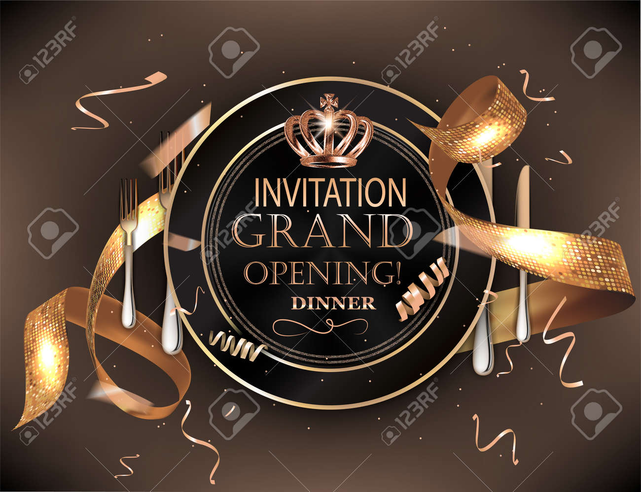 Grand Opening Dinner Invitation Card With Cold Confetti Plate