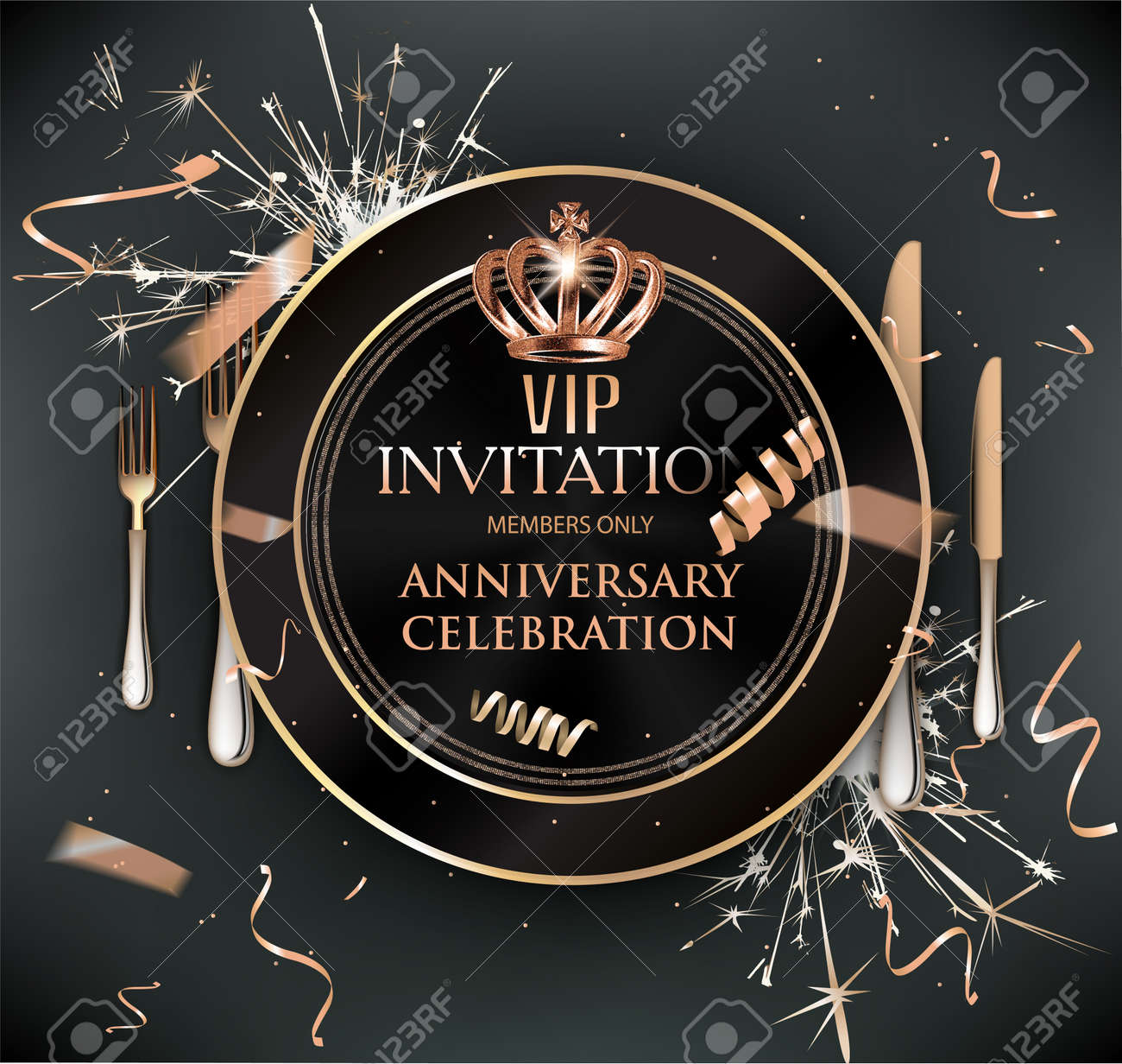 Vip Dinner Invitation Card With Cold Confetti Plate And Cutlery
