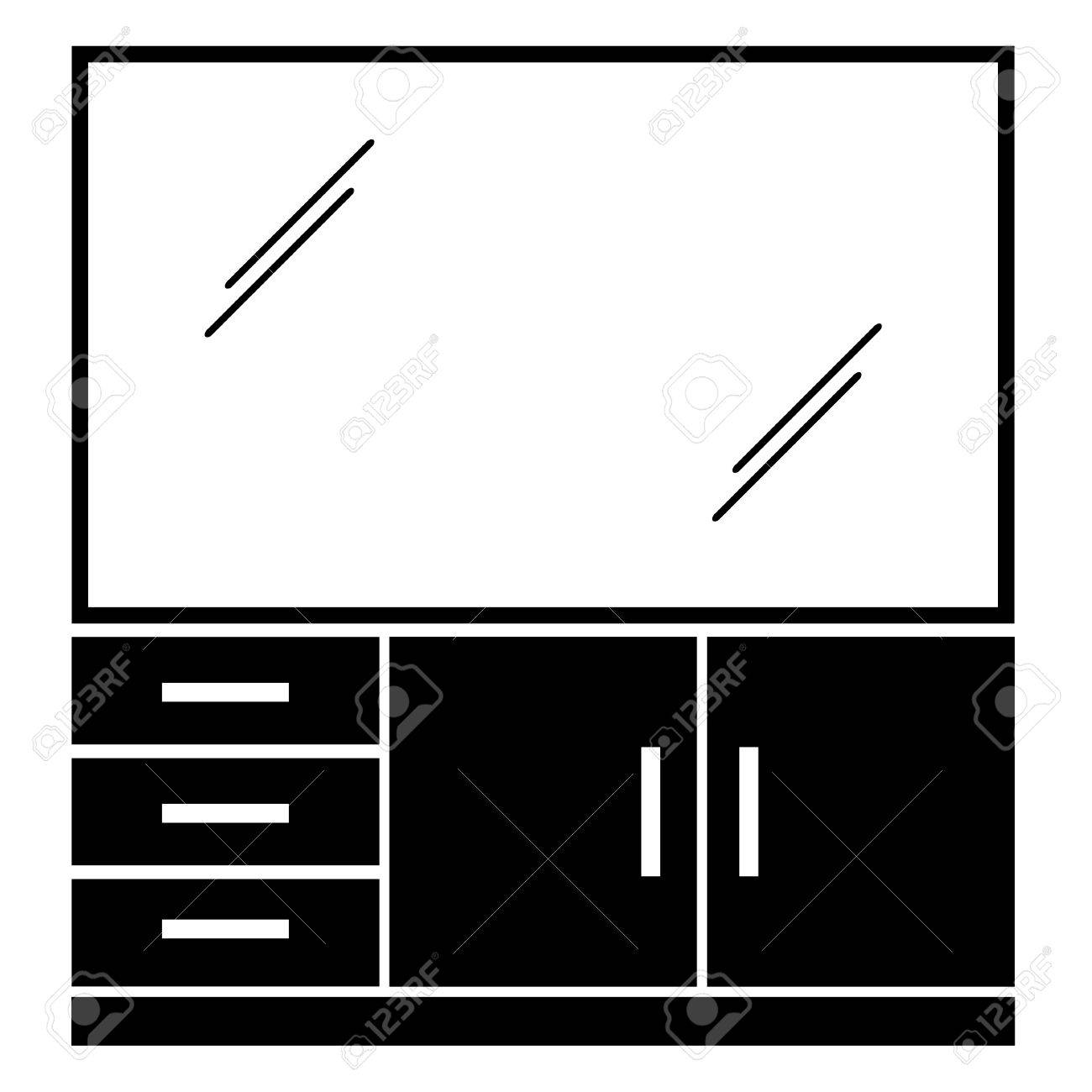 vector furniture with a plasma tv Stock Vector - 11486163