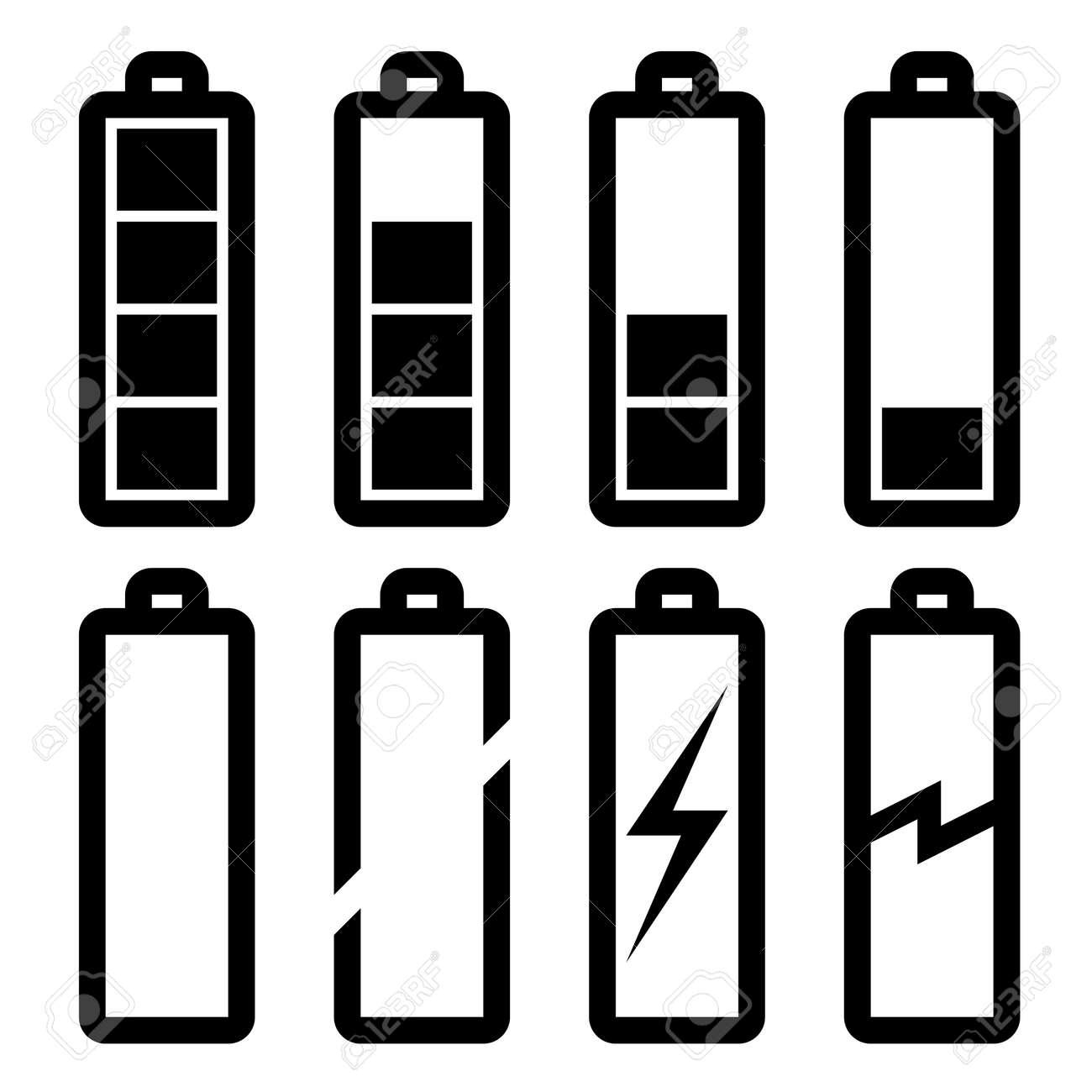 Vector Symbols Of Battery Level Royalty Free Cliparts, Vectors ...
