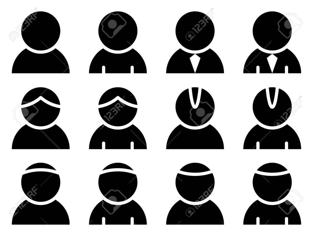 vector black person icons royalty free cliparts vectors and stock rh 123rf com Business People Icon Set Generic Person Icon