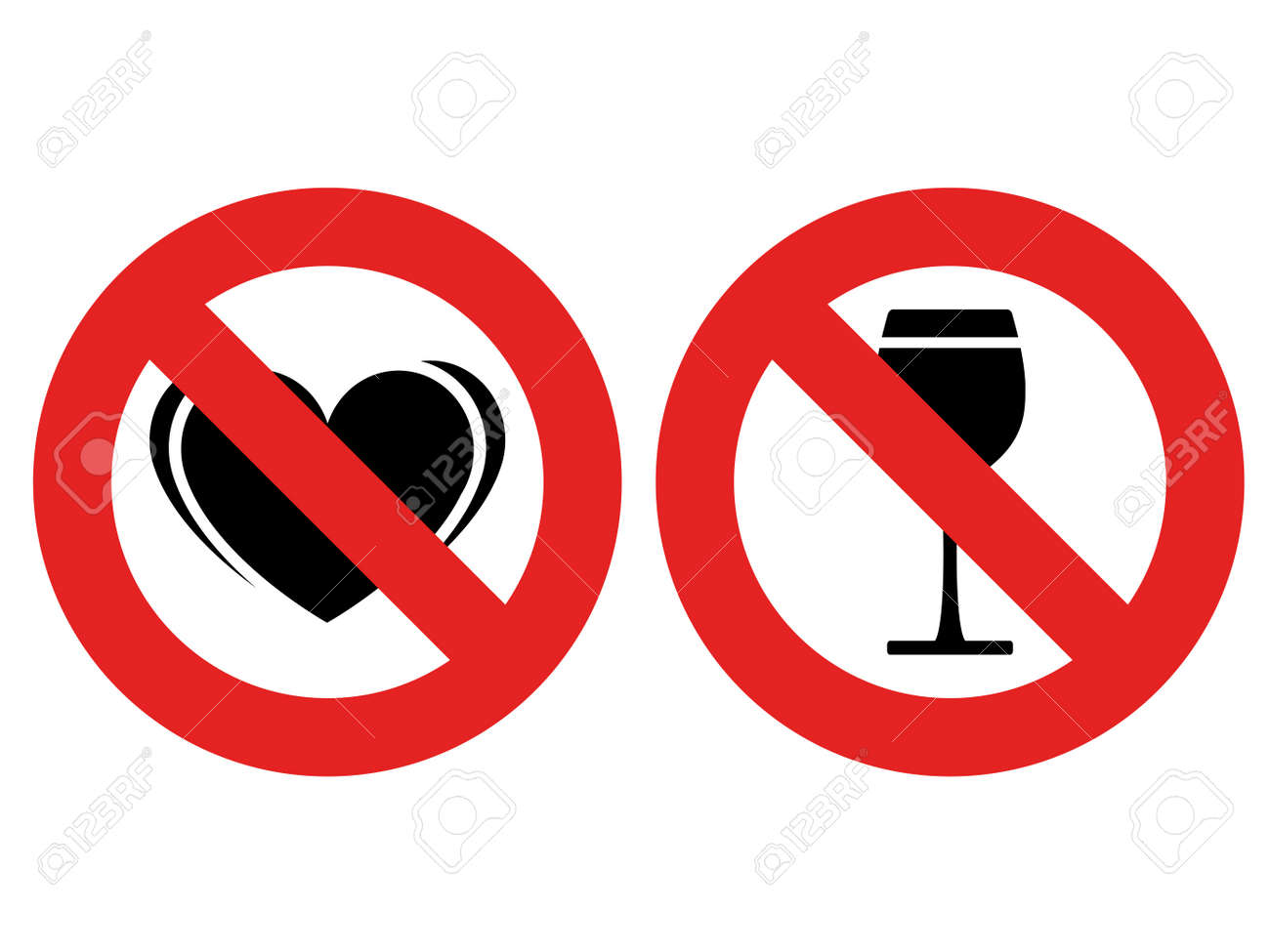 vector no allowed love and alcohol marks Stock Vector - 11519767