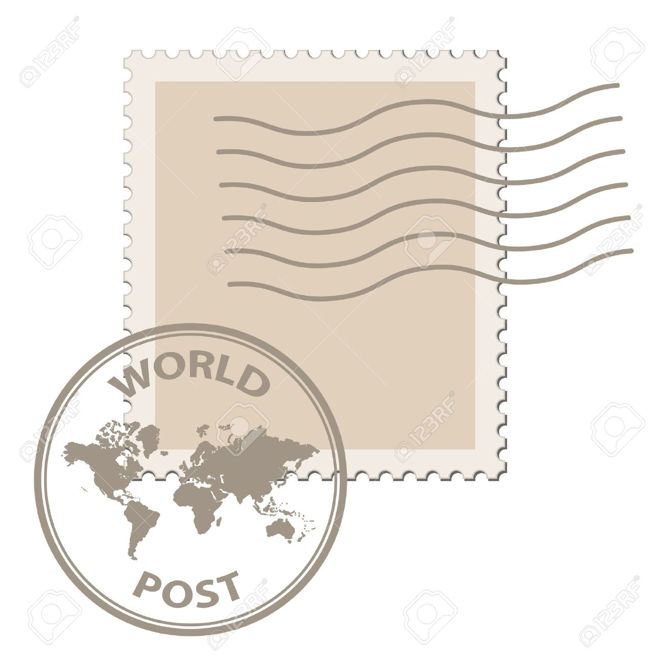 vector blank post stamp with world map postmark Stock Vector - 11525352