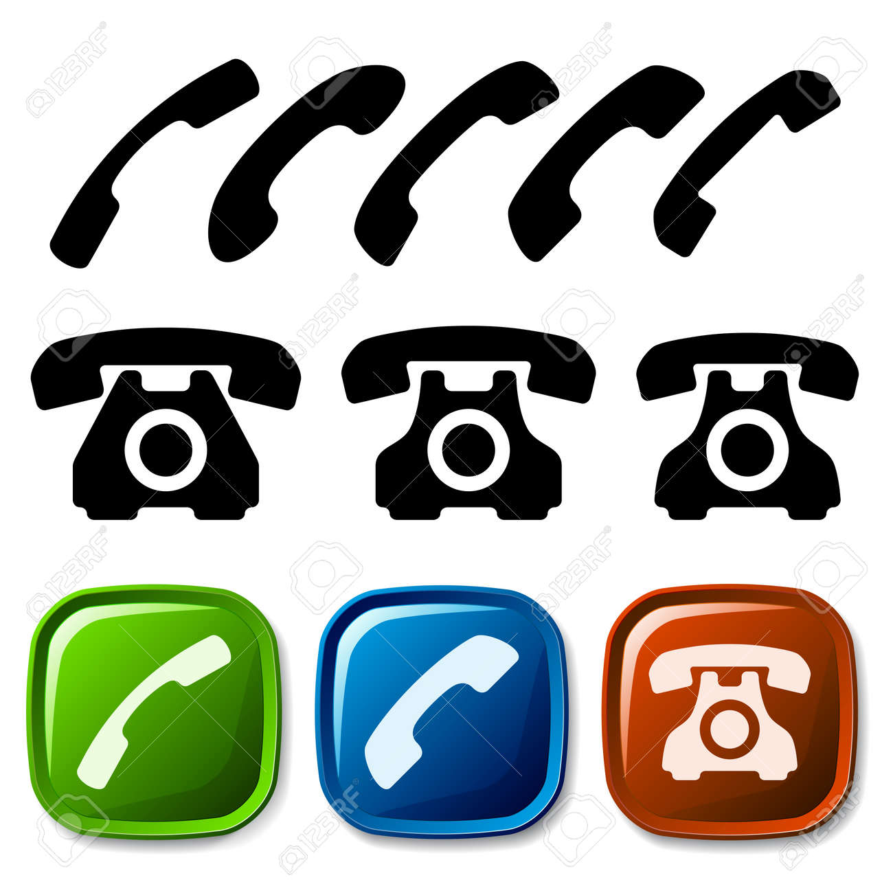 vector old phone icons Stock Vector - 11564722