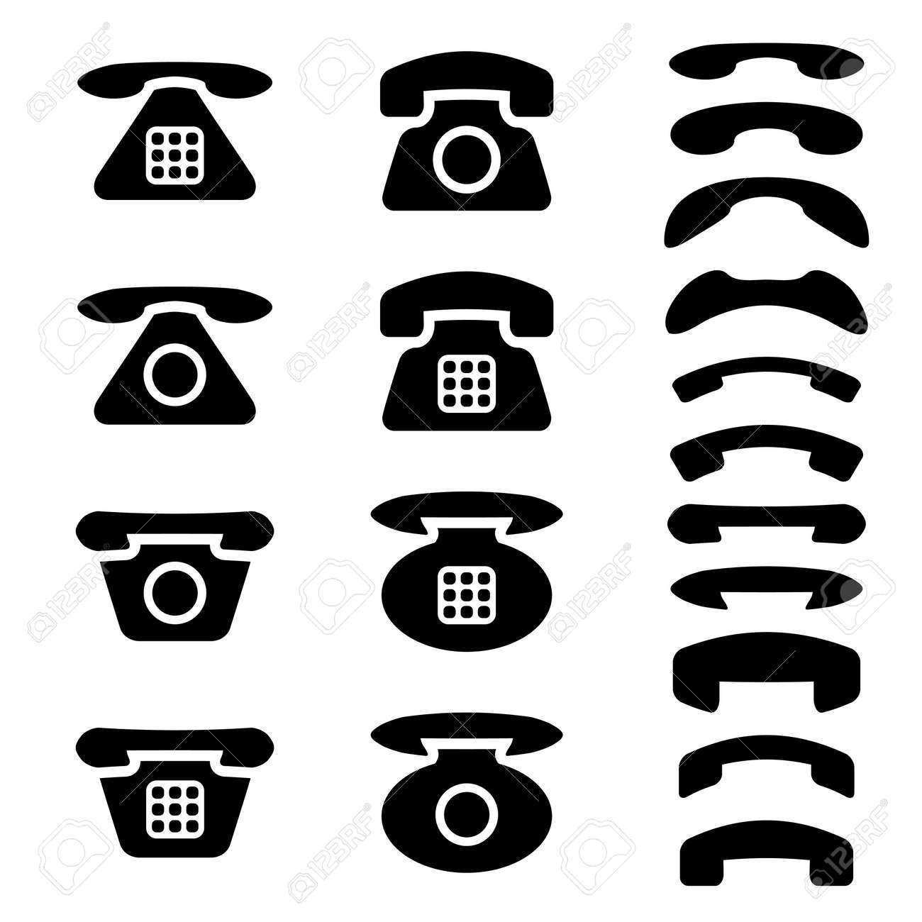 Vector black old phone and receiver symbols royalty free cliparts vector black old phone and receiver symbols stock vector 11564004 biocorpaavc