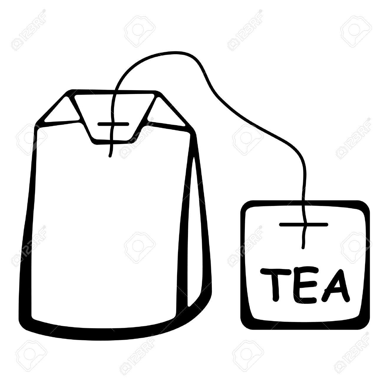 Tea Bag Drawing Tea Bag Vector Tea Bag Black