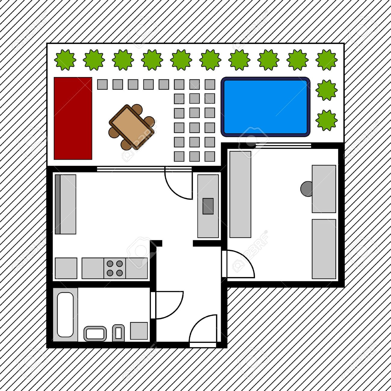 Vector House Floor Plan With Garden Royalty Free Cliparts Vectors