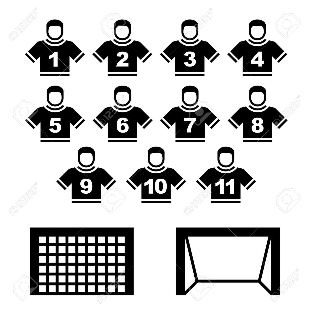 Football team black symbols Stock Vector - 12485581