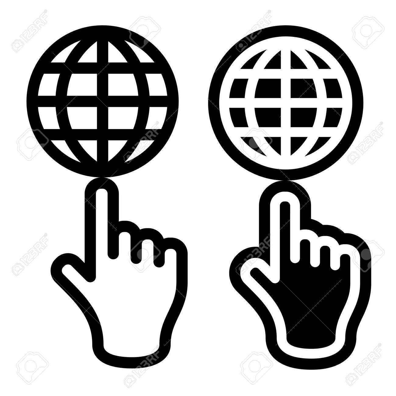 Hand and globe black symbol Stock Vector - 12485579