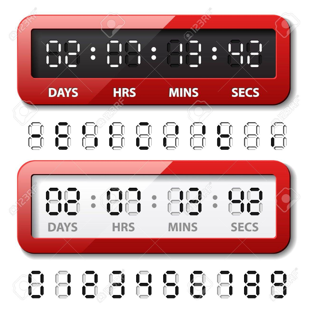 vector red mechanical counter - countdown timer Stock Vector - 13540342