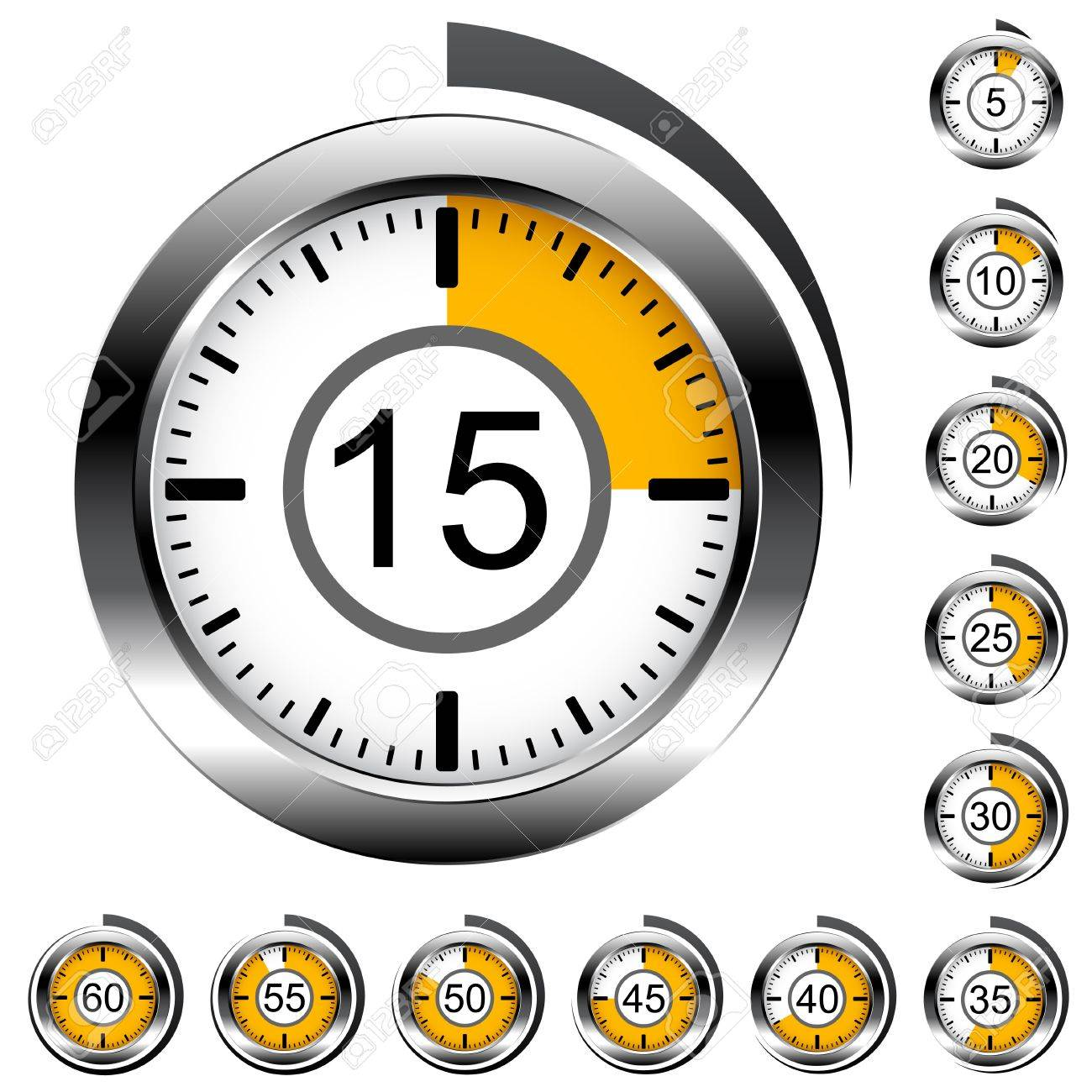 Vector chrome round timers - 13540333