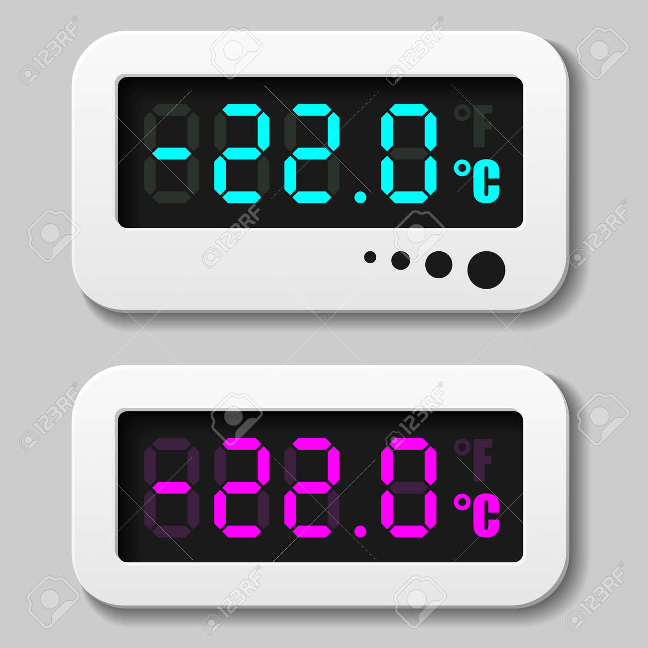 glowing digital thermometer icons Stock Vector - 16161633