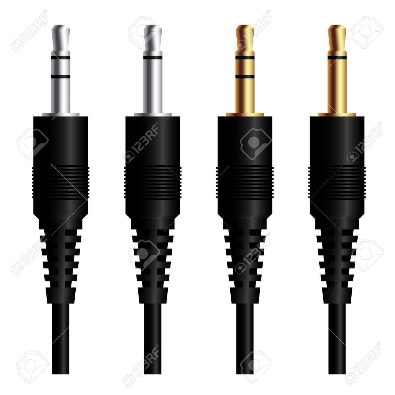 audio jack connector Silver gold Stock Vector - 17712267