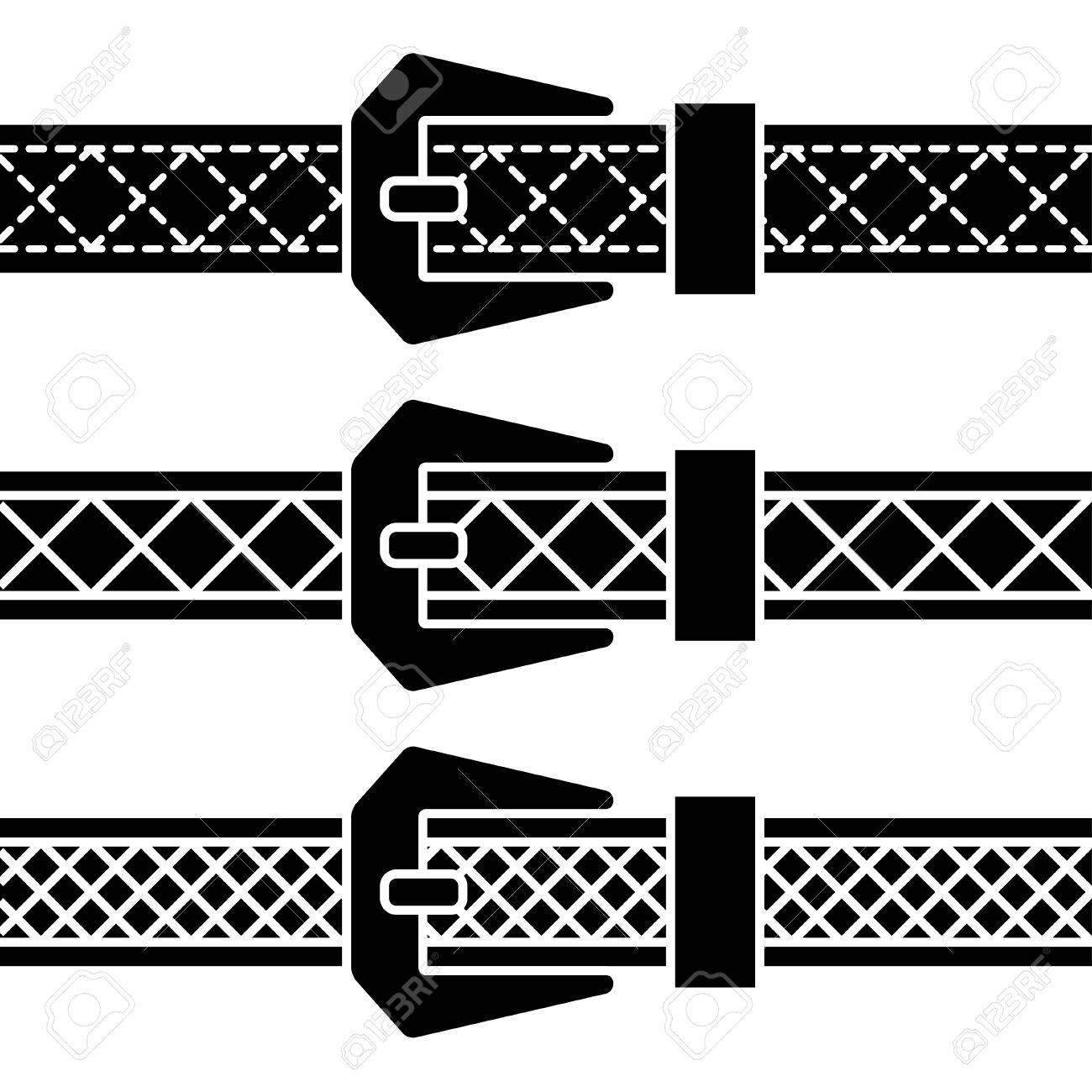 buckle belt black symbols Stock Vector - 19587398