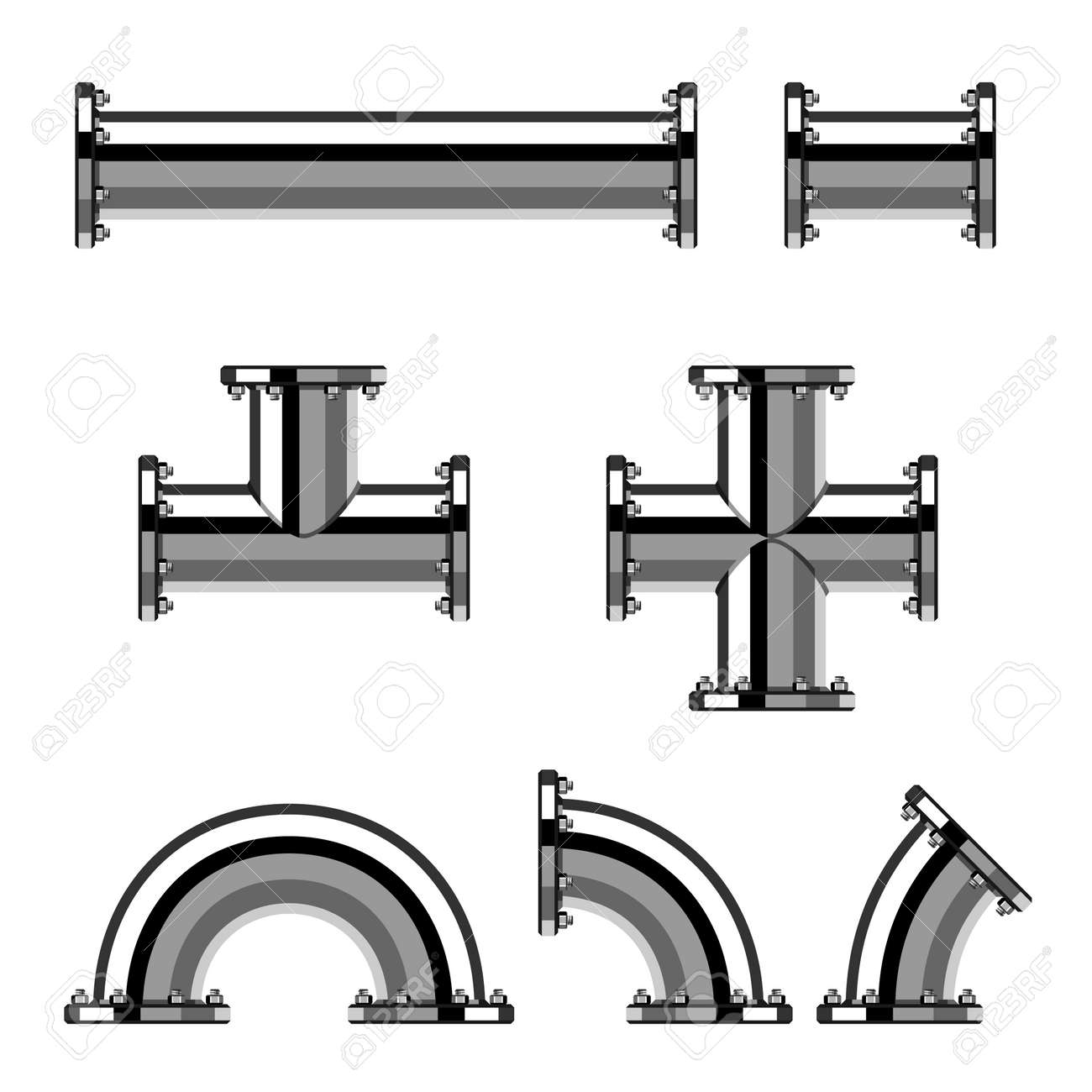 vector chrome pipes with flange royalty free cliparts vectors and rh 123rf com vector pipes and parts vector pipe lighter