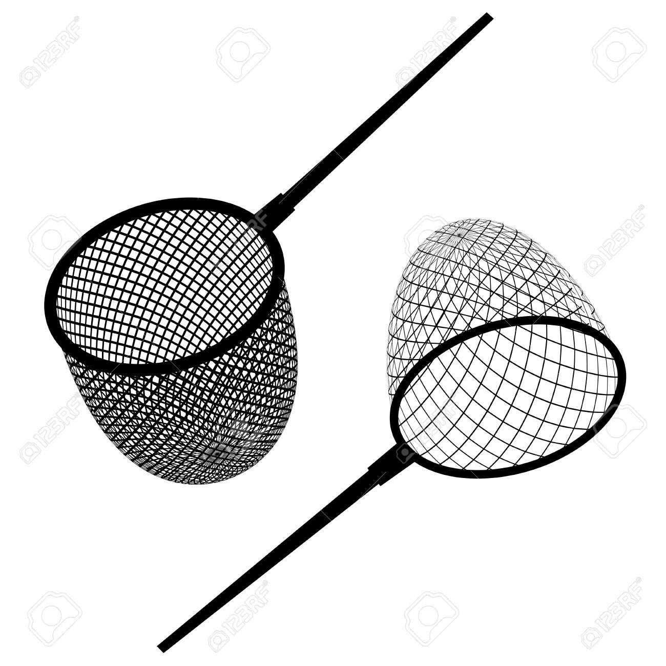 Fishing Net Rod Clip Art - Black Cliparts Transparent PNG