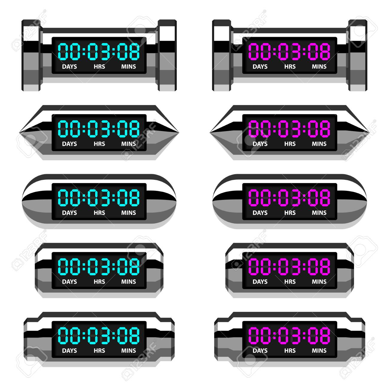 vector chrome glowing digital counter Stock Vector - 22208563