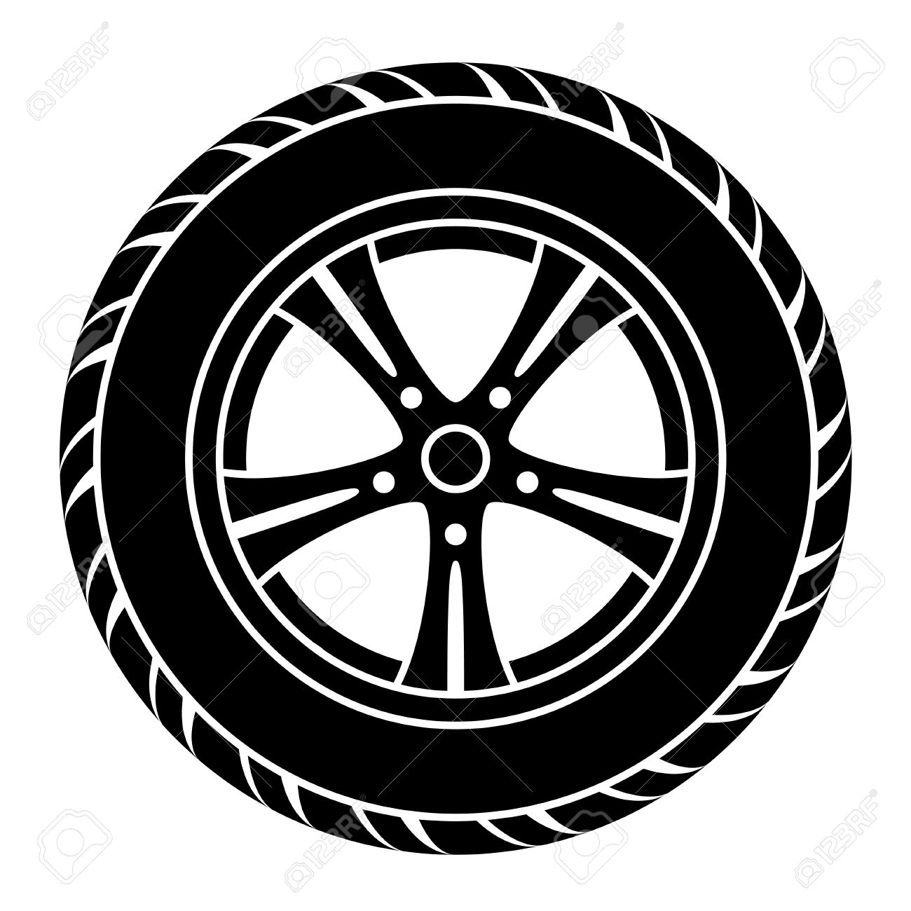 Vector Car Wheel Black White Symbol Royalty Free Cliparts Vectors And Stock Illustration Image 25427545