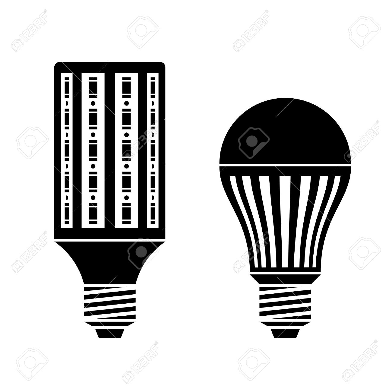 Vector LED Energy Saving Lamp Bulb Symbols Royalty Free Cliparts ...