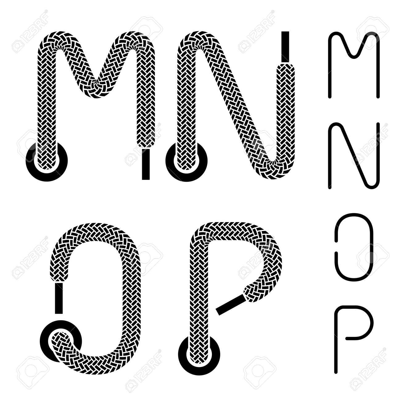 Shoe Lace Alphabet Letters M N O P Royalty Free Cliparts Vectors