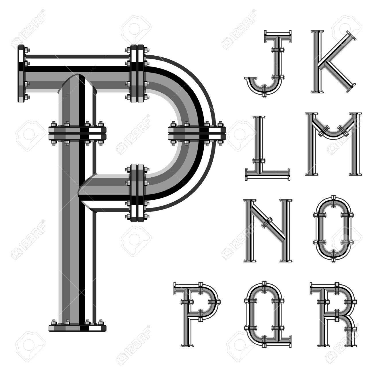 chrome pipe alphabet letters part 2 - 30023521