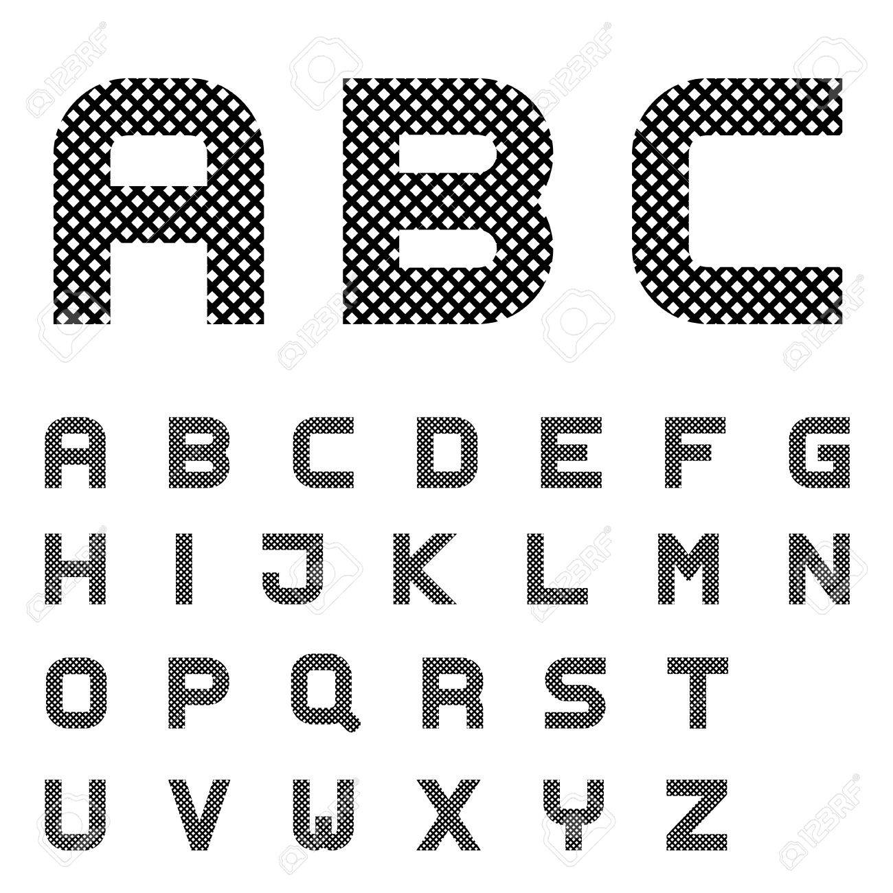 Vector Black Checkered Font Alphabet Letters Royalty Free Cliparts