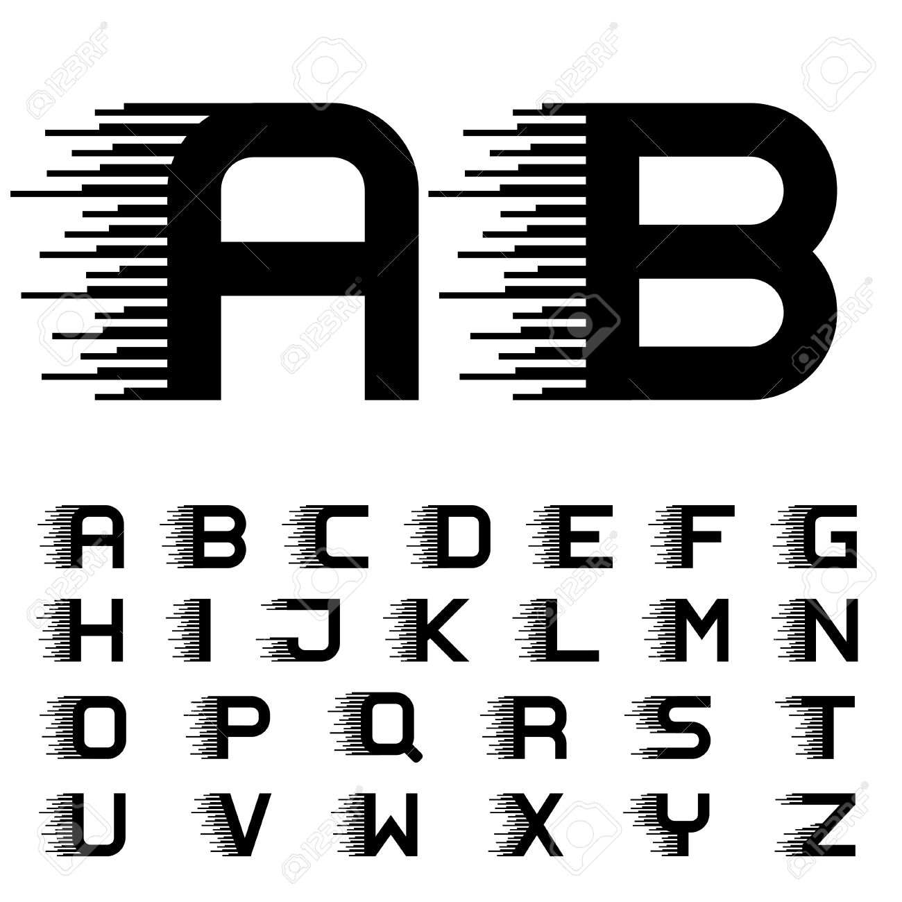 vector speed motion lines font alphabet letters - 47896160