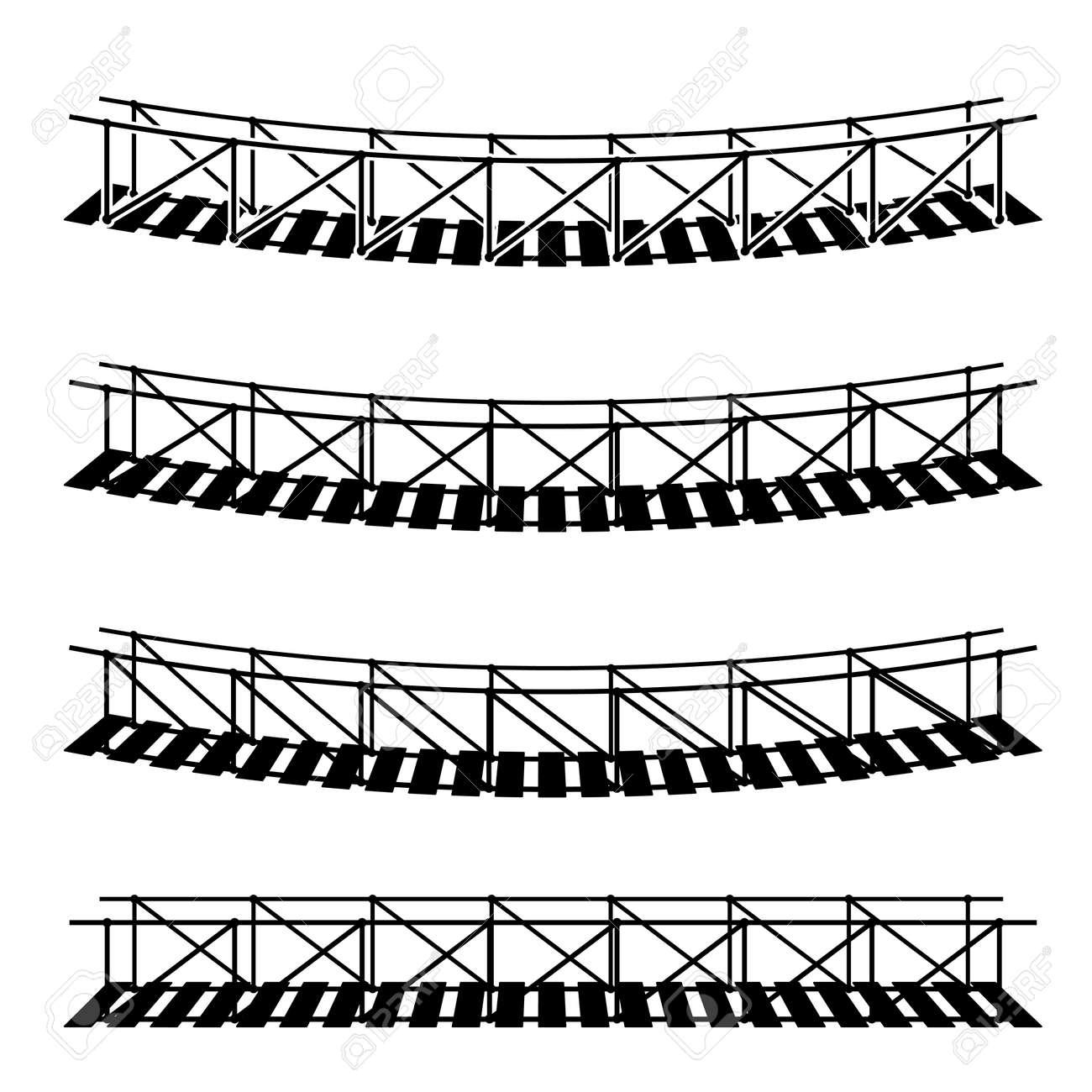 vector simple rope suspension hanging bridge black symbol - 56451497