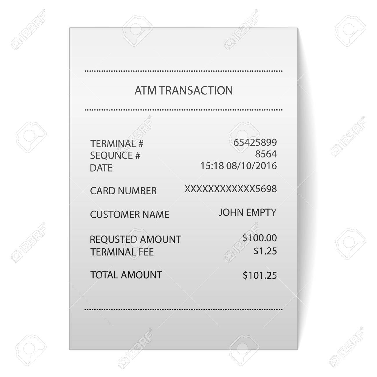 Atm Transaction Printed Paper Receipt Bill Vector Stock Vector   67968361  Bill Receipt