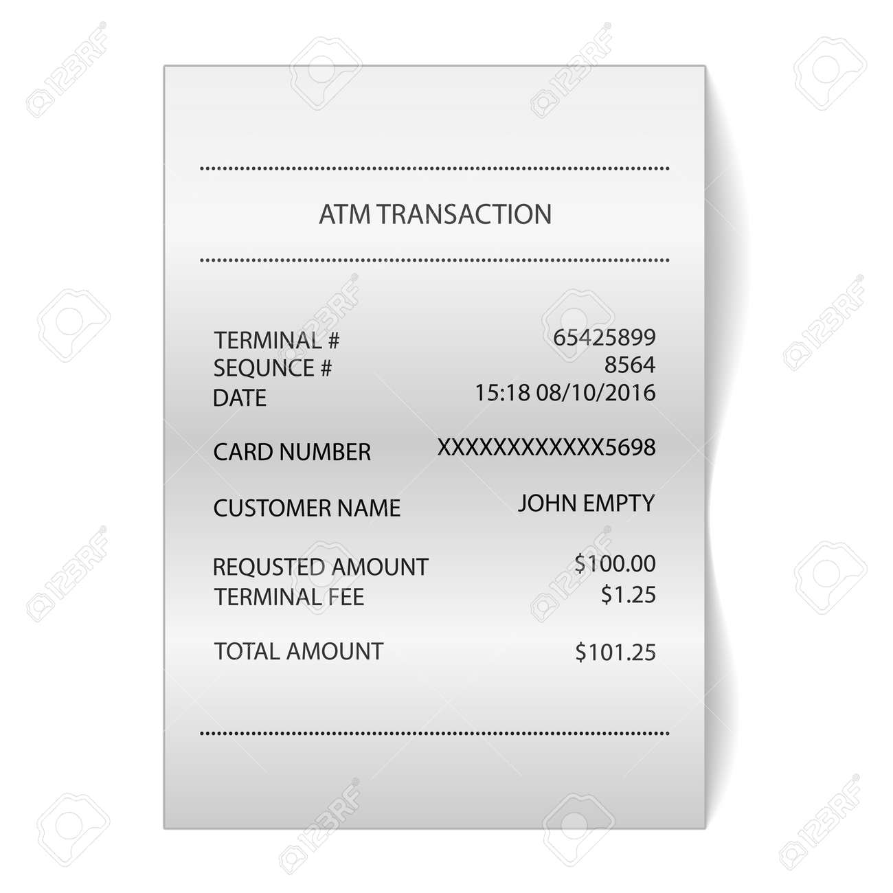 High Quality Atm Transaction Printed Paper Receipt Bill Vector Royalty Free 67968371 Atm  Transaction Printed Paper Receipt Bill