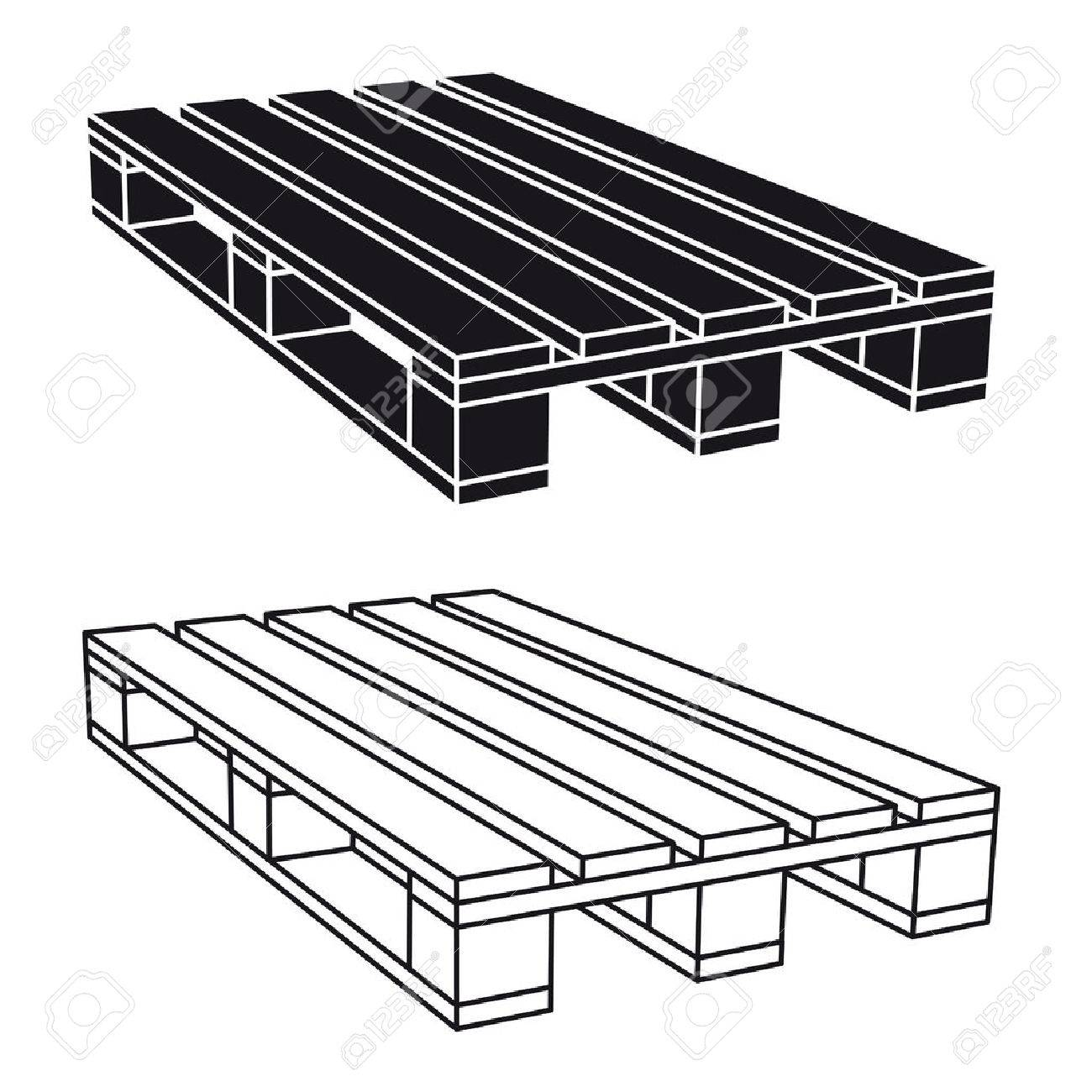 wooden pallet black symbol vector - 69679371