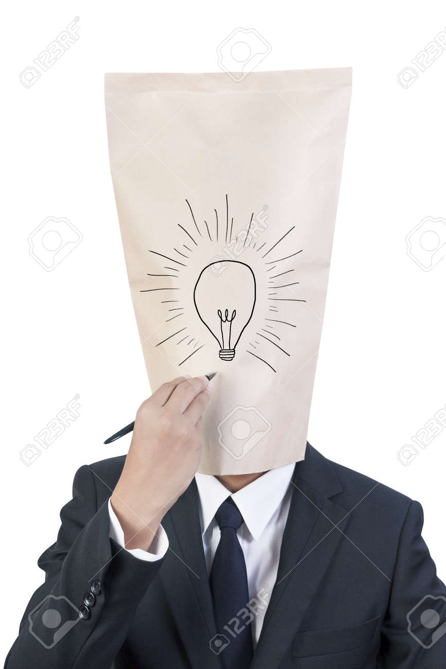Businessman cover head drawing his face Stock Photo - 13776575