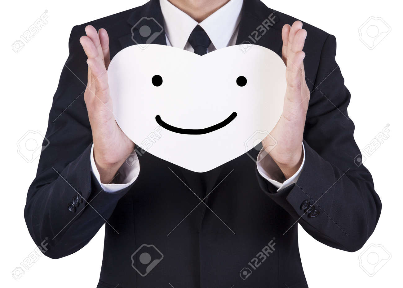Businessman holding paper written smile emotion in his hand Stock Photo - 14660525
