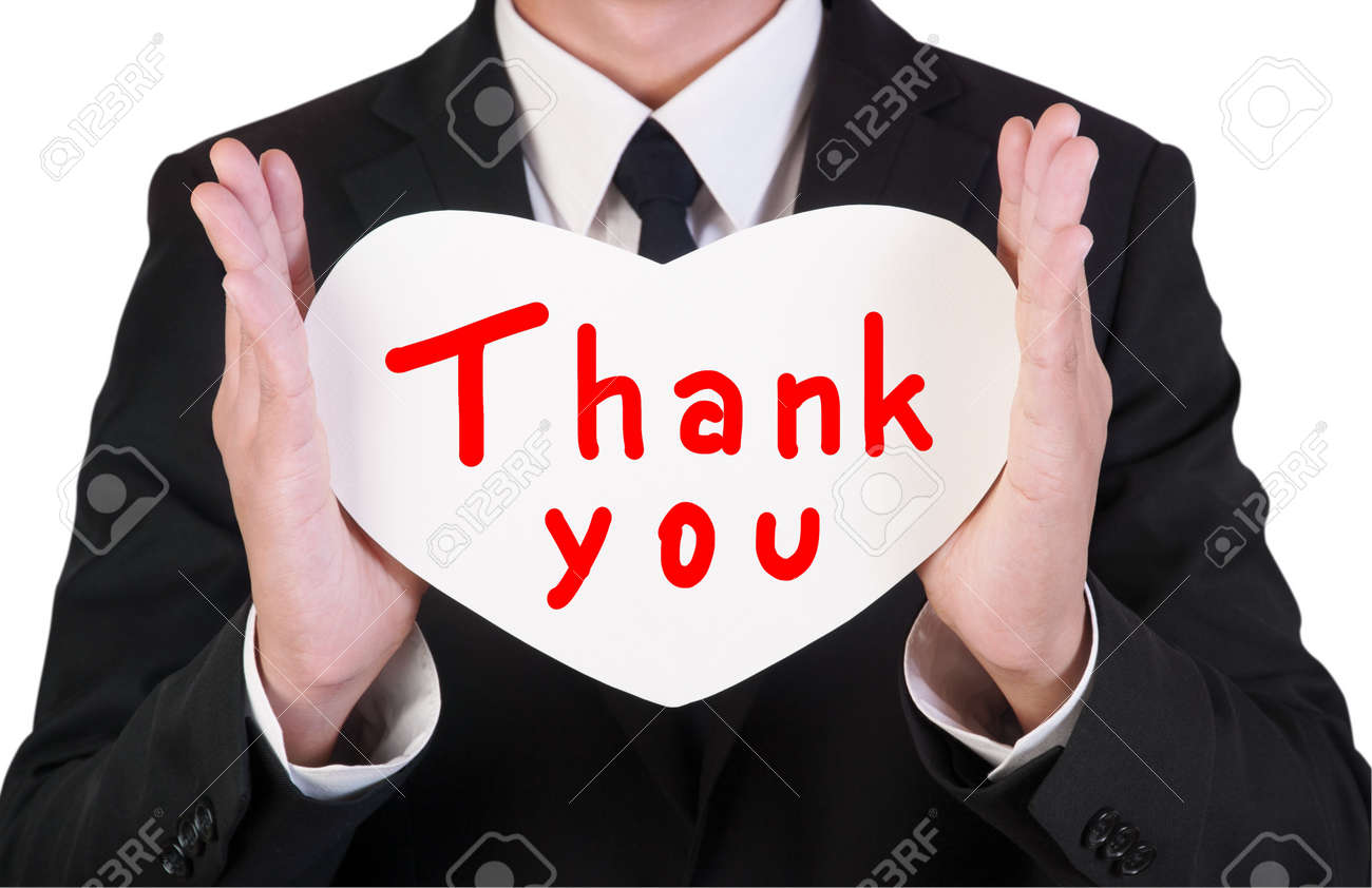 Businessman holding paper written thank you Stock Photo - 14660614