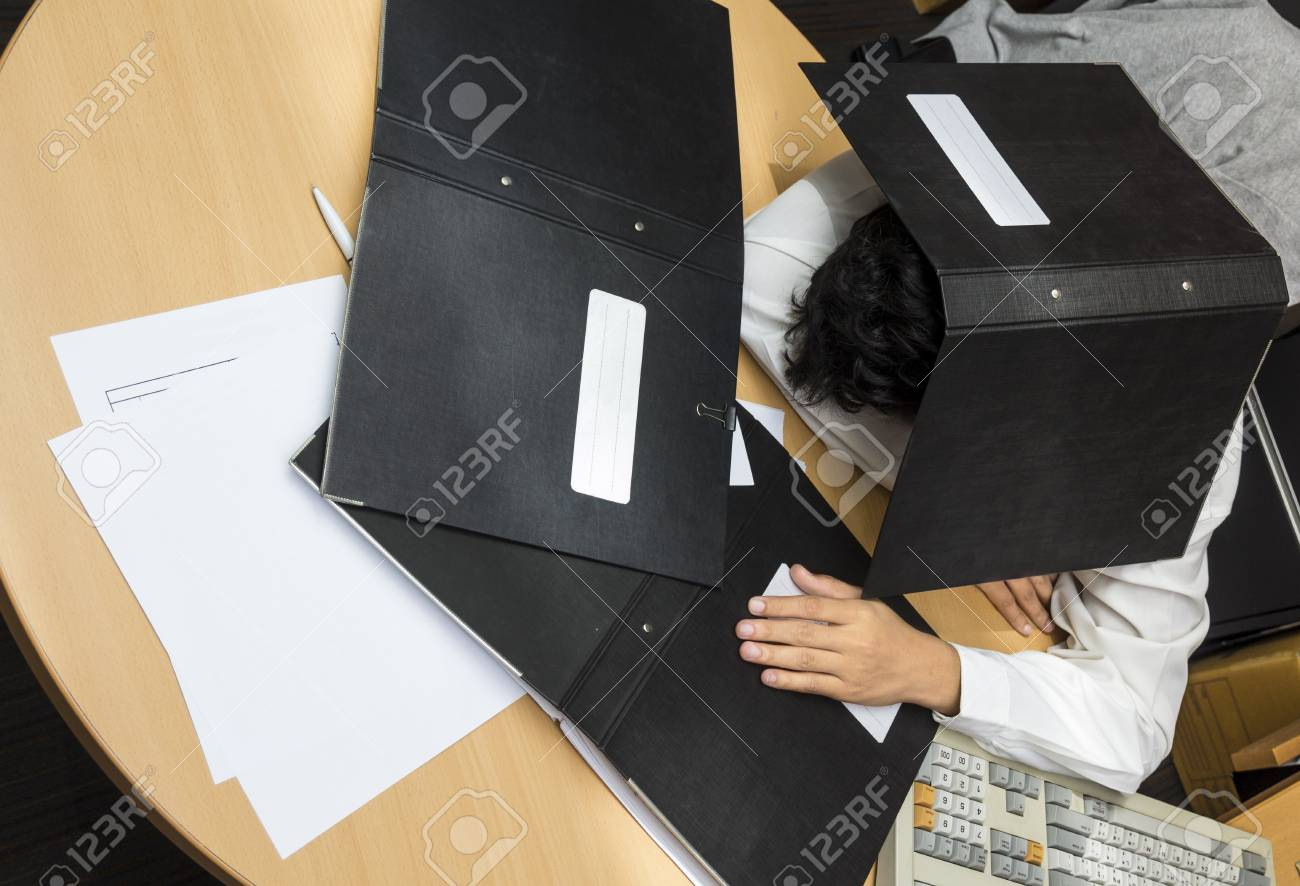 Businessman sleep during working Stock Photo - 19158103