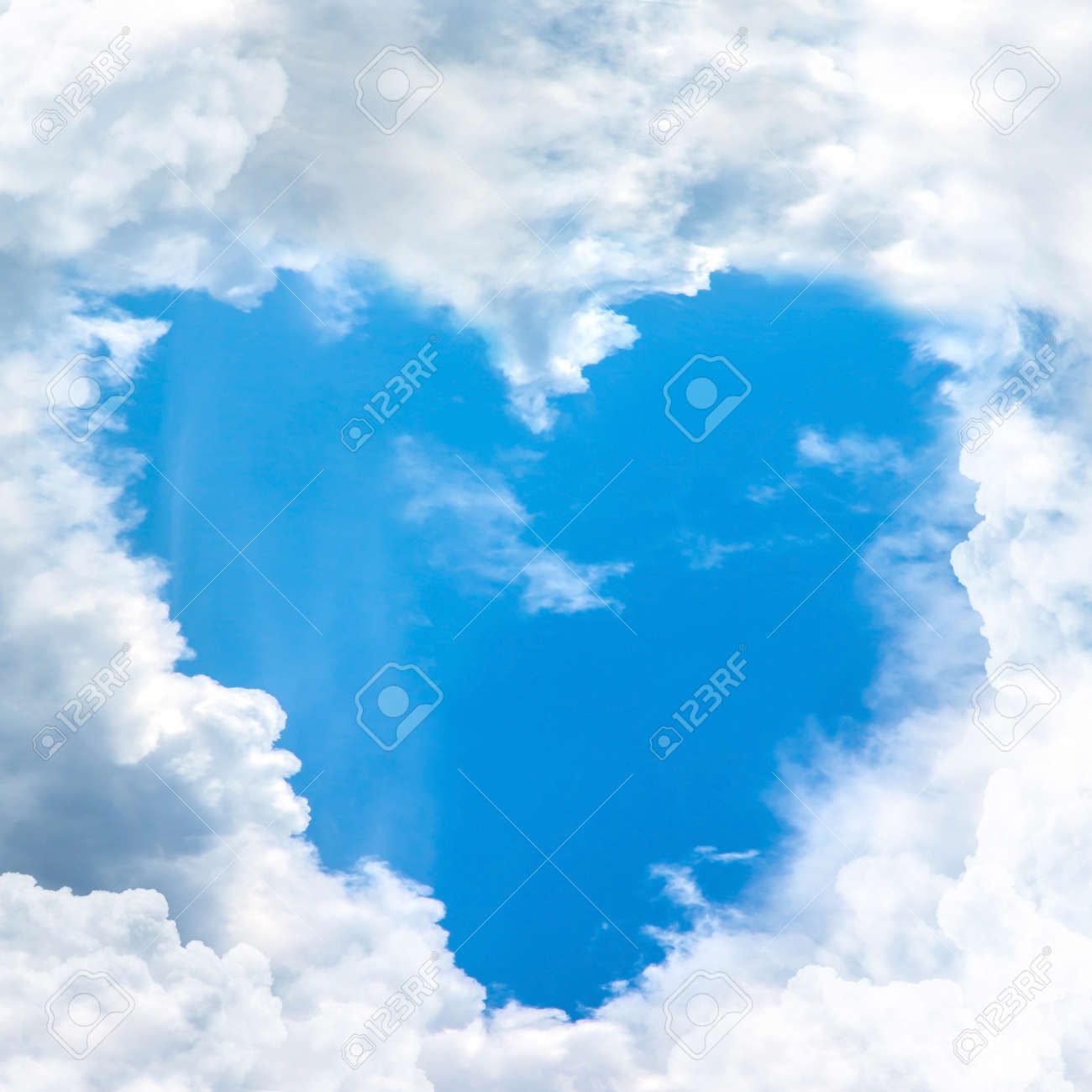 Blue Sky Shape Heart From Cloud Frame Stock Photo, Picture And ...