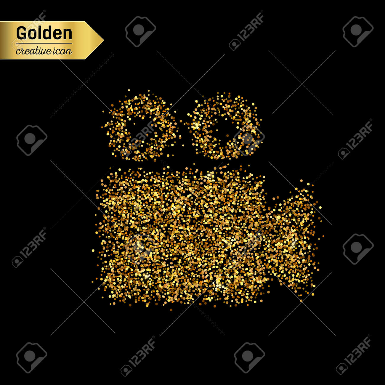 Gold glitter vector icon of video camera isolated on background