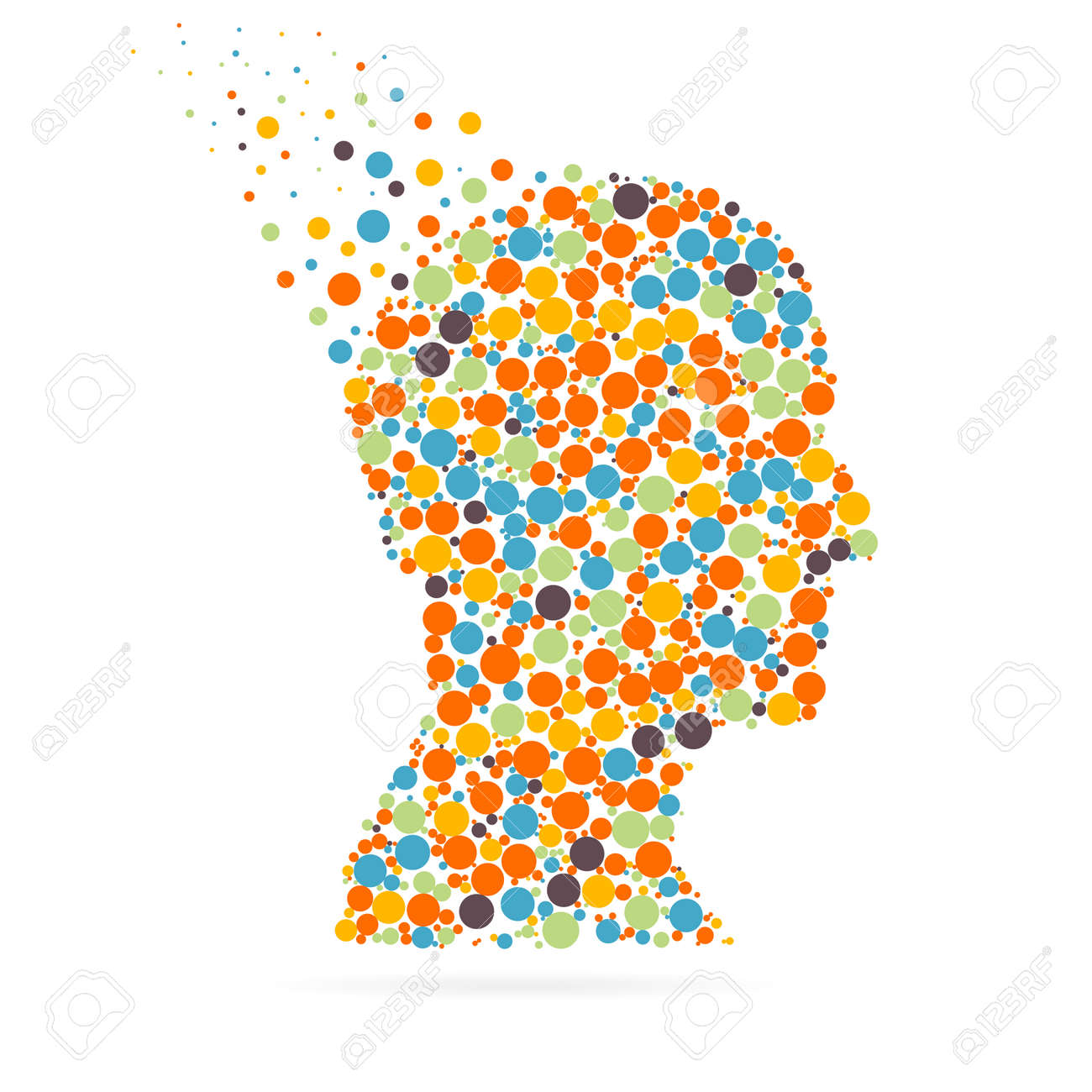 Abstract creative concept vector silhouette head for Web and Mobile Applications isolated on white background. Vector illustration, creative template design, Business software and social media. - 51469380
