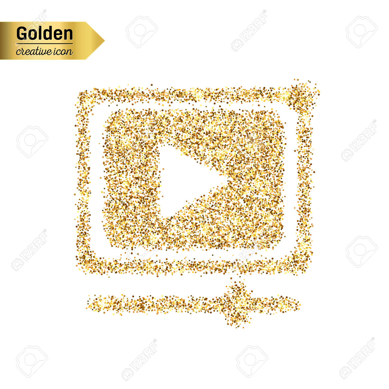 Gold glitter vector icon of video player isolated on background